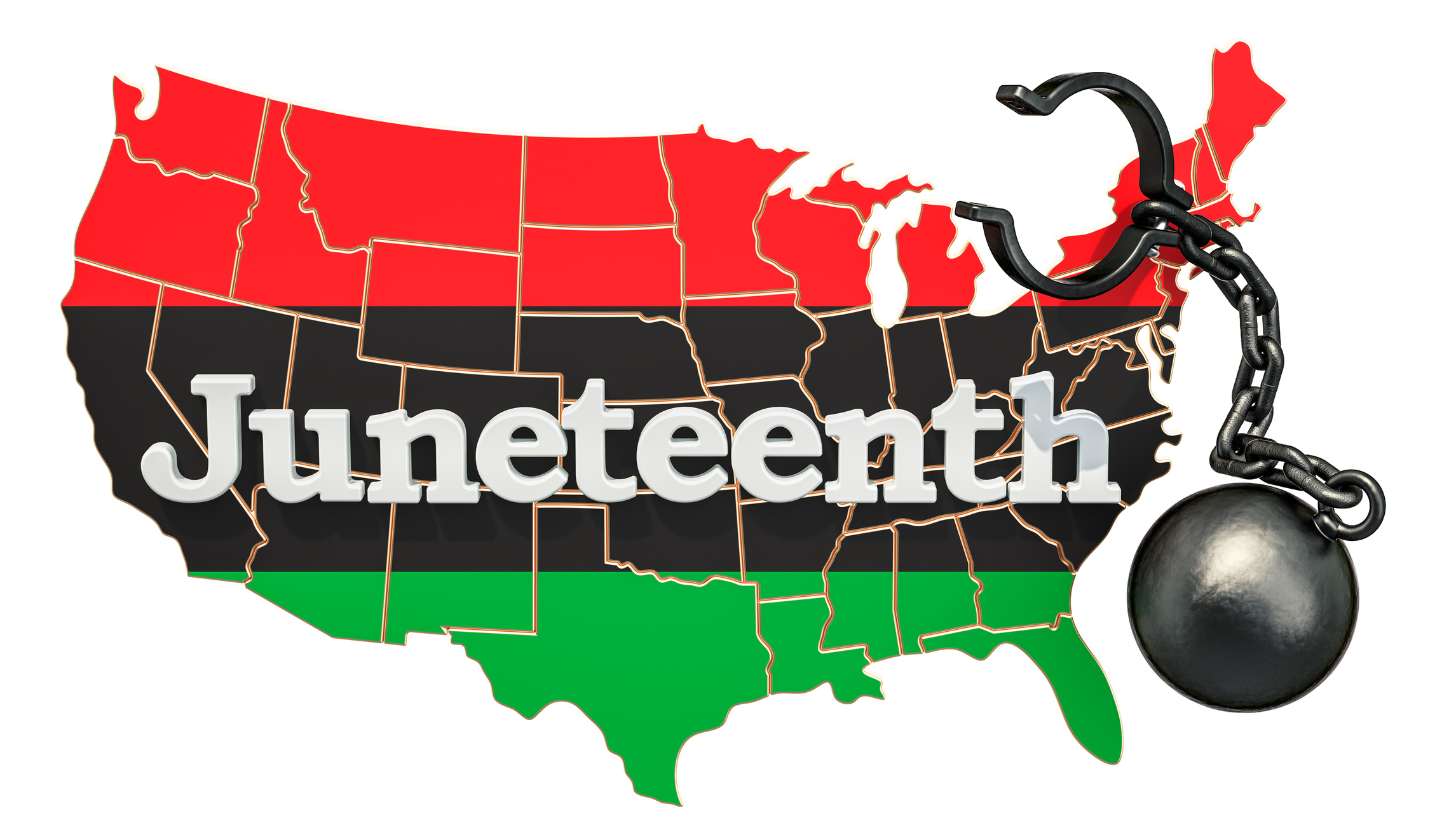 Juneteenth Independence Day concept, 3D rendering isolated on white background